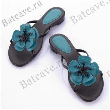 Бирюзовые туфли босоножки сабо