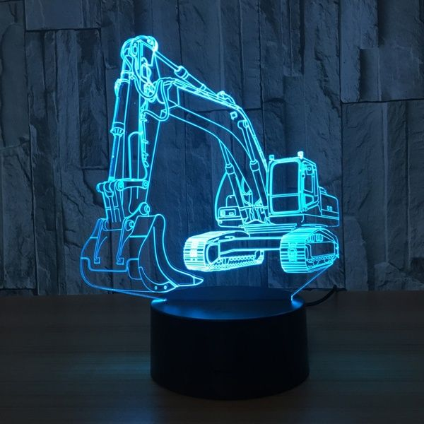 Excavator 7 Color Lamp 3d Visual Led Night Lights For Kids Touch Usb Table Lampara Lampe Baby Sleeping Nightlight Motion Light Wish 3d Illusion Lamp Night Light Lamp Motion Lights