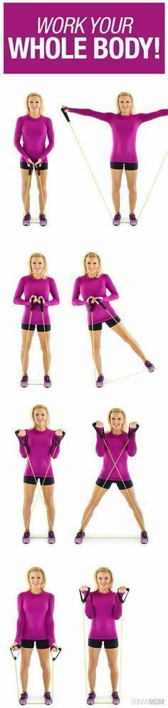 Grab your resistance band and get started with this total body workout. Quick and Easy way to get your heart pumping! #skinnymom #healthyliving