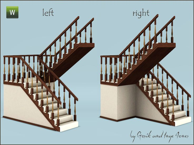 Cottage half-landing stairs - scripted version (sims just teleport, rather than walking in a spiral motion)