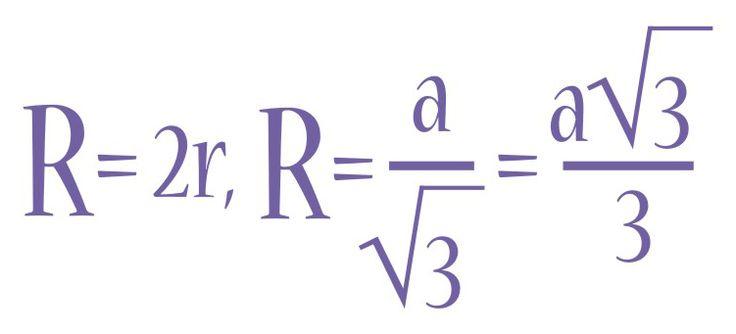 Радиус описанной окружности, формула