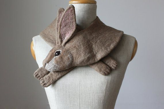 Rabbit joins our pack!  Just like our signature Fox Scarves he is made by hand using 100% felted wool. His head and body is meticulously shaped and coloured with various undertones. His ears, work of art by themselves, are bold and succulent. Special clip underneath his head makes it easy to arrange him in your preferred style, whether you like him snuggly around the neck or loosely around the shoulders like a stole.  Rabbit in details: ∙ his length is approximately 95 cm / 37 inches ∙…