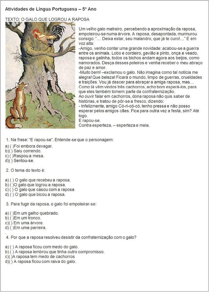 AMIGA DA EDUCAÇÃO.: Texto e atividade: O galo que logrou a raposa. 5º ano.