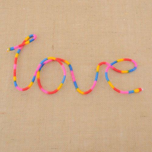 Love  Multi Coloured Wool Wrapped Letters by HandmadeByNehaBajaj