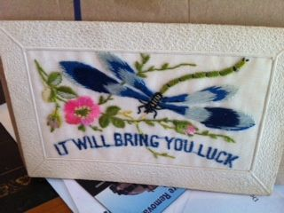 An example of one of the hand stitched silk greeting cards that the soldiers sent to their loved ones in the First World War. The Australian War Memorial www.australianwarmemorial.com.au has a wonderful collection which is really worth looking at.