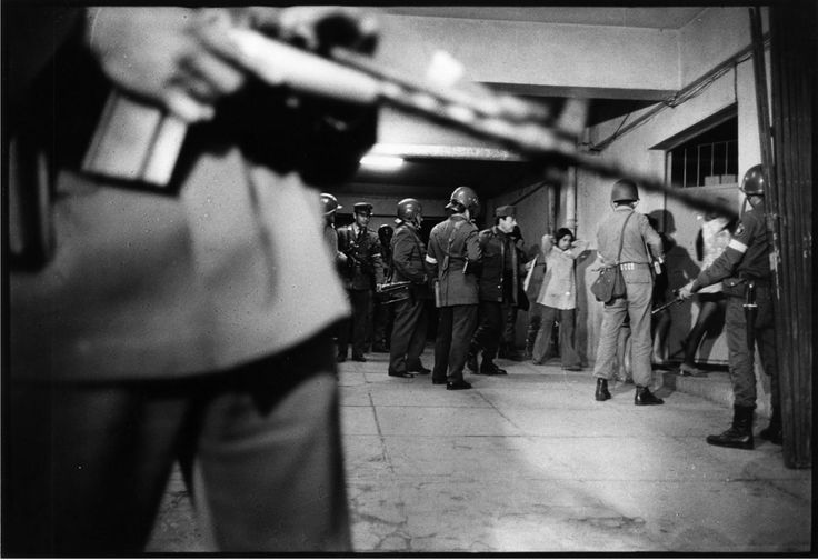 September 1973: Political prisoners are taken into the basement of the National Stadium for interrogation, after a U.S.-backed military coup overthrew and killed the socialist president of Chile, Salvador Allende.