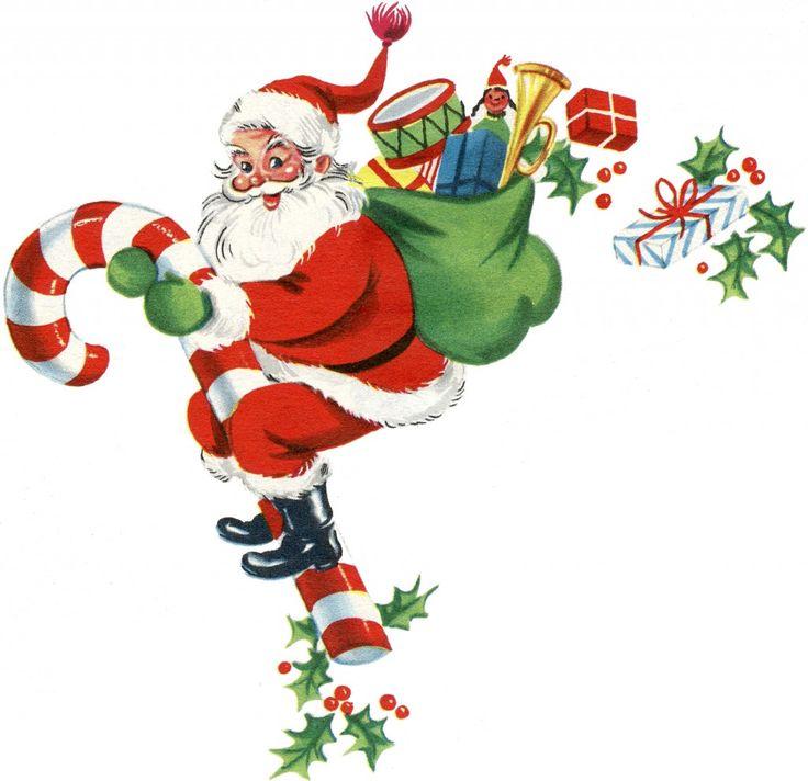 retro candy cane santa image