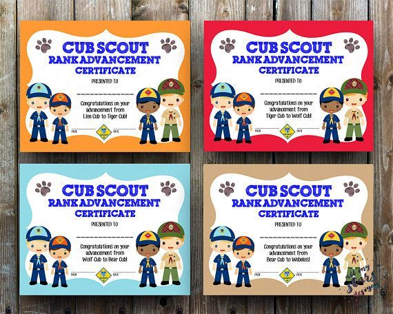"Cub Scout Rank Advancement Certificate Pack - 8.5x11"" JPG Blank Printable  - Four Lion,Tiger,Wolf,Bear,Webelos Advancement Instant Downloads"