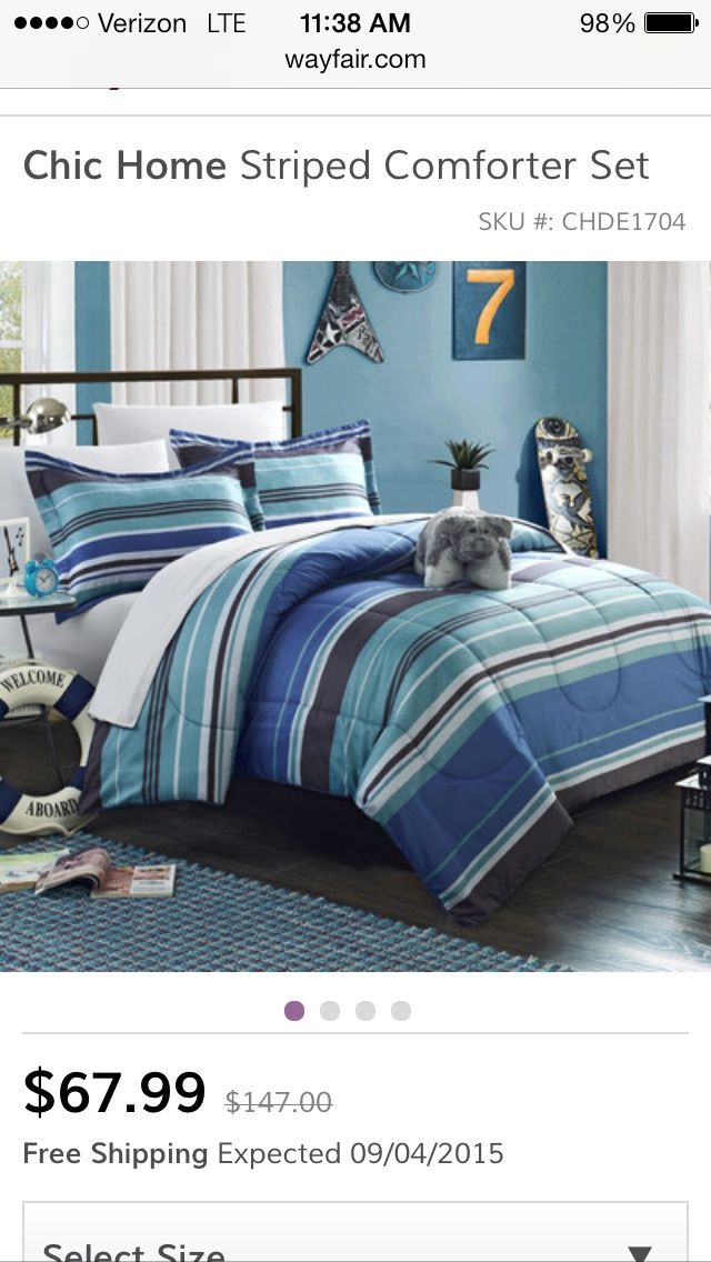 chic home blue striped bed in a bag with sheet set overstock shopping the best prices on chic kidsu0027 bed in a bags