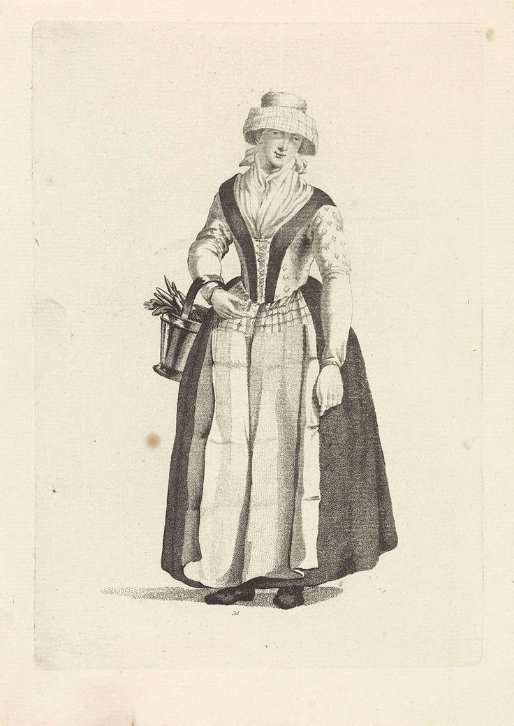 Mathias de Sallieth | Vrouw met hoed en emmer aan de arm, Mathias de Sallieth, Jacob Perkois, Johannes Huibert Prins, 1772 - 1791 | Prent middenonder genummerd: 31.