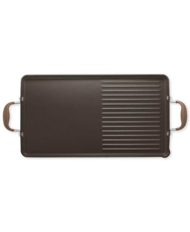 "Anolon Advanced Bronze 10"" x 18"" Double Burner Griddle and Grill Pan with Pour Spouts"