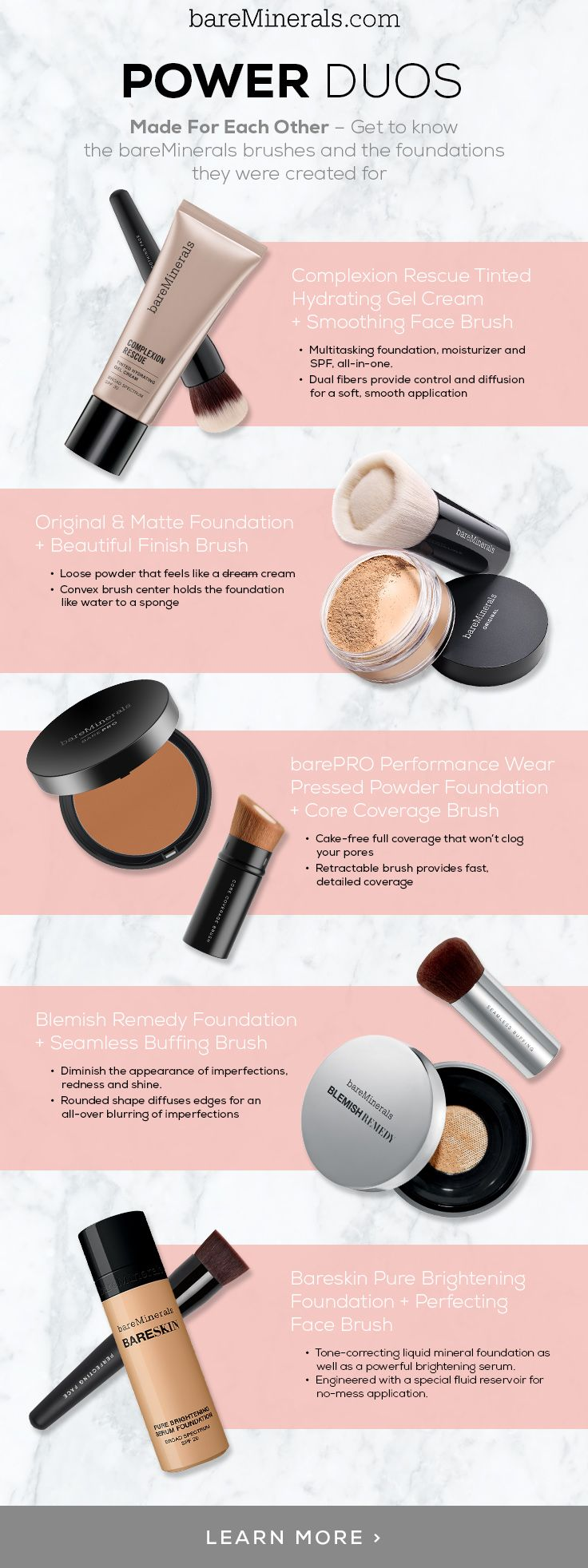 Bare Pro Duos Brushes and their foundations BareMinerals