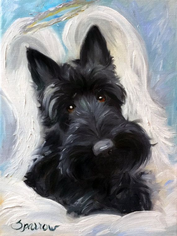 """Scottish Angel"" (ScottishTerrier) Printed on Unstretched Canvas Each Print has a white border around it so that it can be mounted on a"