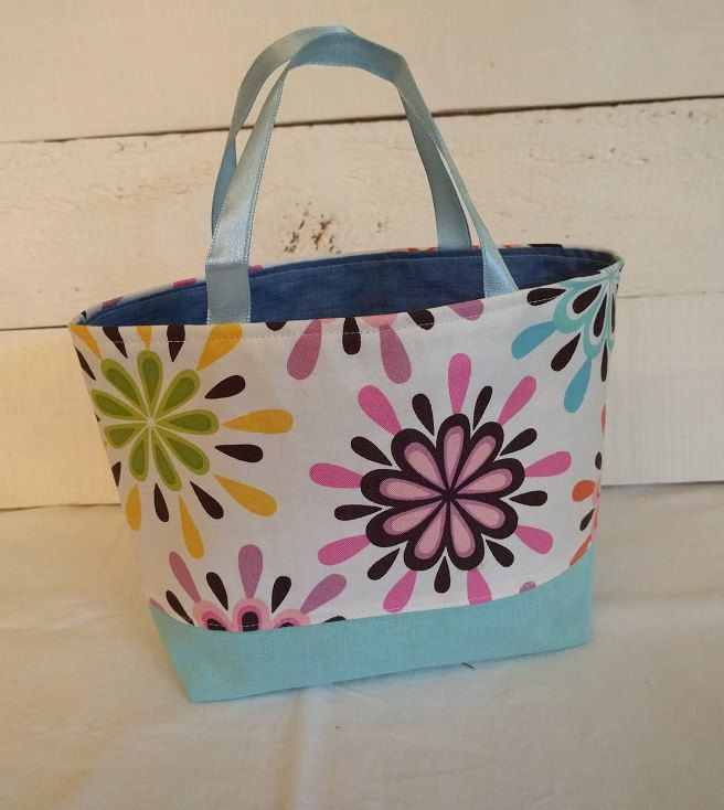Tote Bag, small tote bag, fabric bag, gift bag, lined bag, girls bag, play bag, party bag, petal bag by ByCatDesign on Etsy