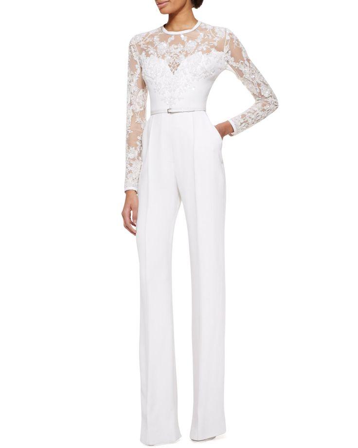 Elie Saab Long-Sleeve Lace-Embellished Jumpsuit | perfection