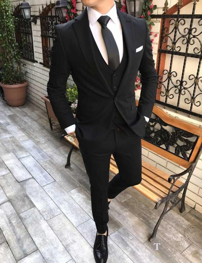 b33f90b44e8e7 Terziademaltun - İtalyan stil slim fit erkek ceket yelek pantolon Siyah takım  elbise T2494