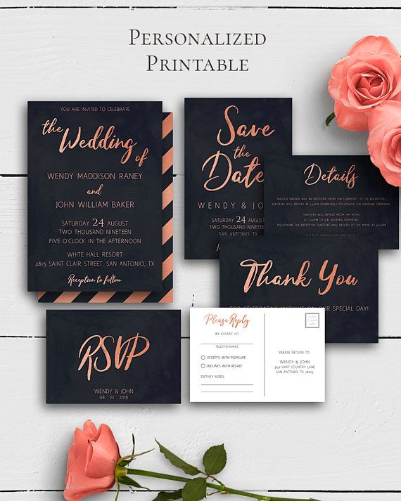 Rose Gold Wedding Invitation Suite with modern and elegant rose gold calligraphy and navy blue design in modern wedding style.Build your suite - choose your card combination by Amistyle Digital Art on Etsy