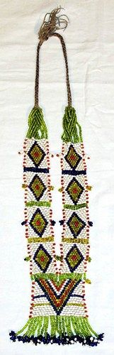 Vintage North Indian Tribal Bellydance Beaded Kalbeliya Statement Necklace  Colorful hand woven glass seed bead necklace.  Symmetrical design with a rectangular bottom portion and tall vertical sides.