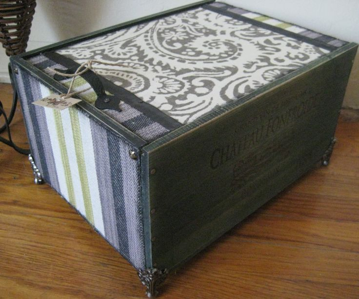 Newest wine box. Beautifully stained with decorative upholstery fabric used throughout.