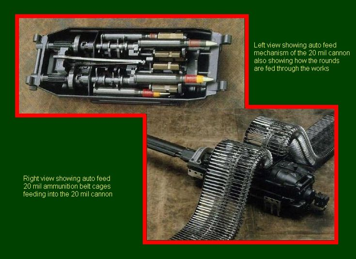 SADF.info RATEL 20 & 90 INTERIORS  Left showing auto feed mechanism of the 20 mil cannon also showing how the rounds are fed through the works. Right view showing auto feed 20 mil ammunition belt cages feeding into the 20 mil cannon