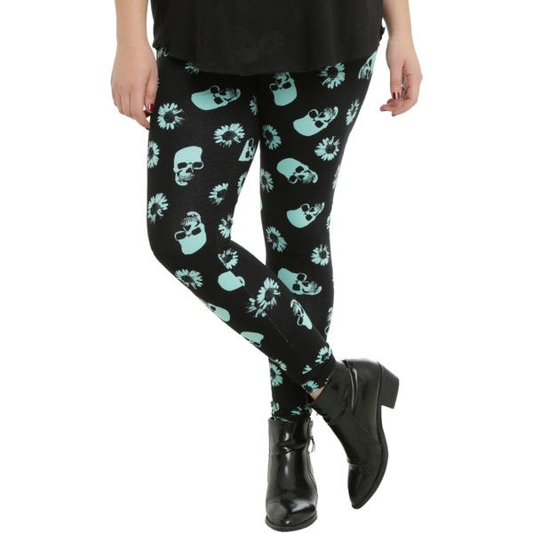 Hot Topic Black & Mint Skull & Daisies Leggings Plus Size ($24) ❤ liked on Polyvore featuring tops, mint green plus size tops, patterned tops, mint green top, plus size print tops and daisy top