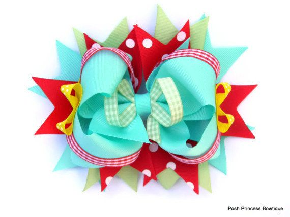 Girls hair bows Hair bow for girls Aqua Red by PoshPrincessBows1, $12.99