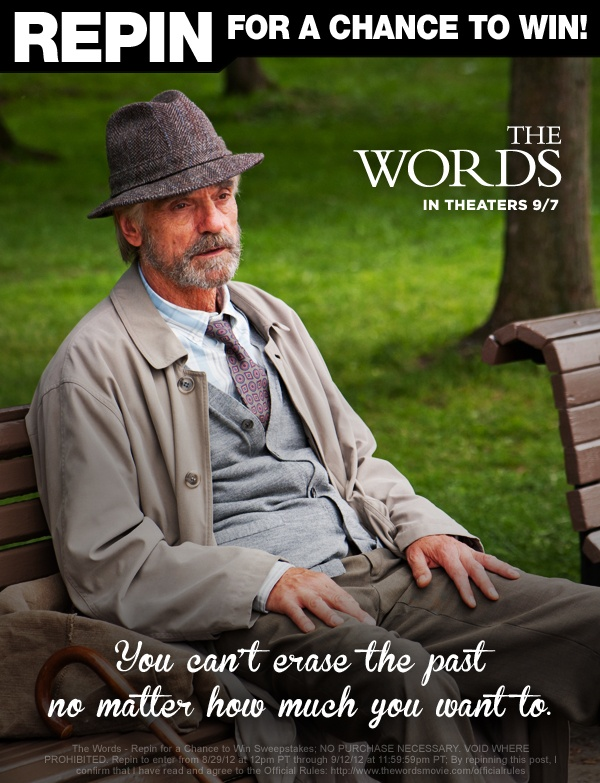 """CBS Films wants you to be inspired! Bradley Cooper, Jeremy Irons, Dennis Quaid, Olivia Wilde and Zoe Saldana star in """"The Words,"""" with Ben Barnes, a romantic drama about finding inspiration and making choices to fulfill our greatest aspirations. To enter: 1. Follow @CBSFilms on Pinterest 2. Repin the photo from #TheWords – Repin for a Chance to Win board that inspires you the most 3. Automatically be entered for a chance to win a Kindle! Details: http://www.thewordsmovie.com/officialrules/"""