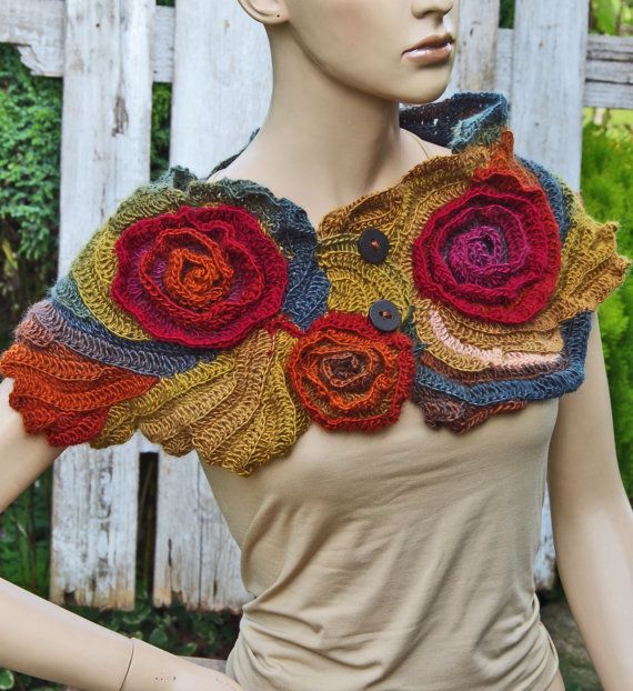 Scarf Crochet Rainbow Roses Capelet Button Neck Warmer Freeform crochet Women Freeform Crochet Roses Textured cape crochet flower shawl Gift
