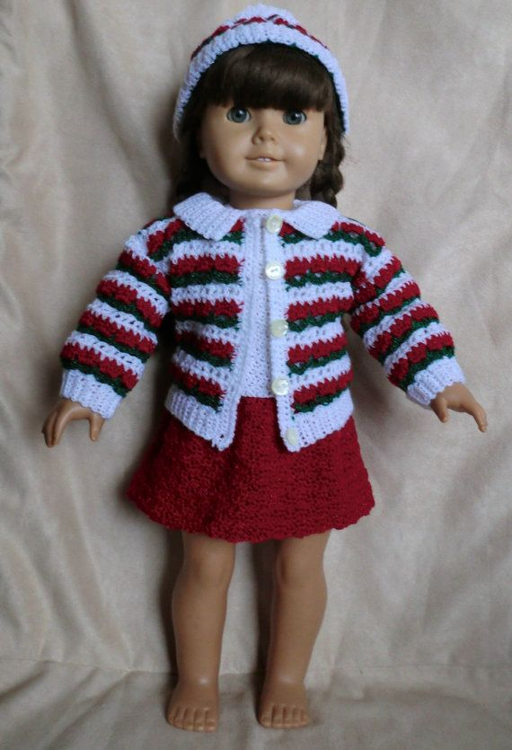 224 Holiday Outfit Crochet Pattern for American by barbsdolls $5.24