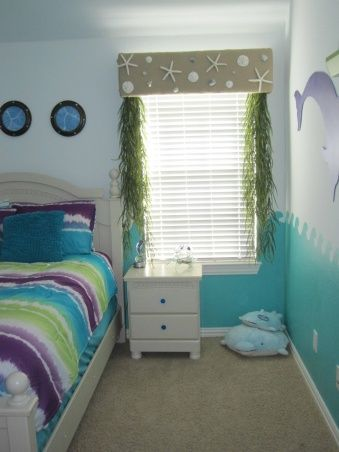 Girls Dolphin Room, This is a room I did for my dolphin loving girl.  My 9 year old is a fin loving person.  If it has fins and swims in the...