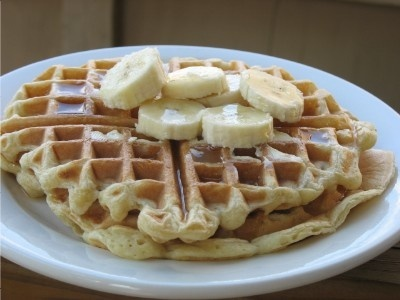 Best Yogurt Waffles Ever:  1 c. water  1 c. yogurt (Ive used whole and low fat, with equally good results)  2 eggs  2 c. flour  2 tsp baking powder  1 tsp baking soda  1/2 tsp salt    In a medium/large bowl, combine the water, yogurt, and eggs. In a smaller bowl, mix together the remaining (dry) ingredients. Add dry ingredients to wet, and stir to combine. Bake in a waffle iron (I might add vanilla extract & cinnamon).: Baking Powder, Tsp Baking, Medium Large Bowl, Yogurt Waffles, Waffle Iron, Smaller Bowl, Appliance, Baking Soda