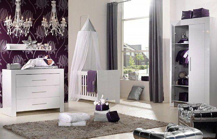 chambre bébé mixte, chambre bebe pas cher de couleur blanc gris