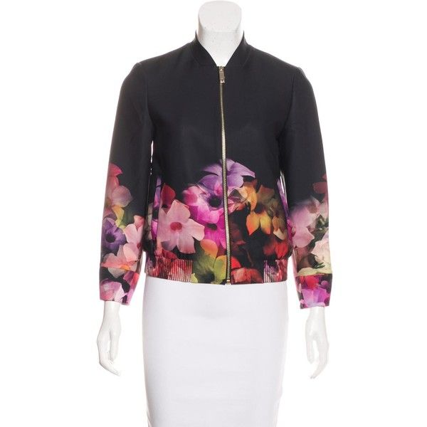 Pre-owned Ted Baker Floral Printed Bomber Jacket (330 ILS) ❤ liked on Polyvore featuring outerwear, jackets, black, multi-color leather jackets, zipper jacket, zip jacket, floral-print bomber jackets and flight jacket