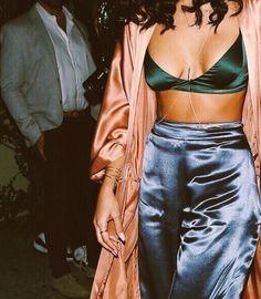 satin pants bralette and kimono | @lauryncakes