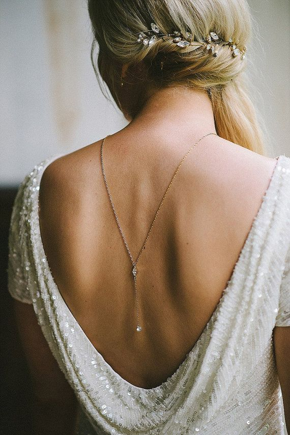 dia  Back Necklace Back Chain Y necklace Bridal by HedgehogProject