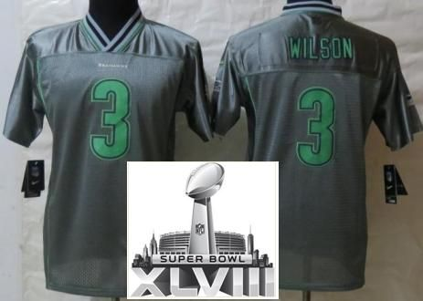 best sneakers e7632 43d07 nike seattle seahawks 3 russell wilson gray game kids jersey