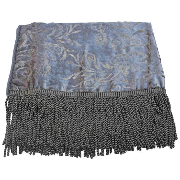 Custom Stenciled Silk Velvet Throw with Fringe | From a unique collection of antique and modern pillows and throws at https://www.1stdibs.com/furniture/more-furniture-collectibles/pillows-throws/