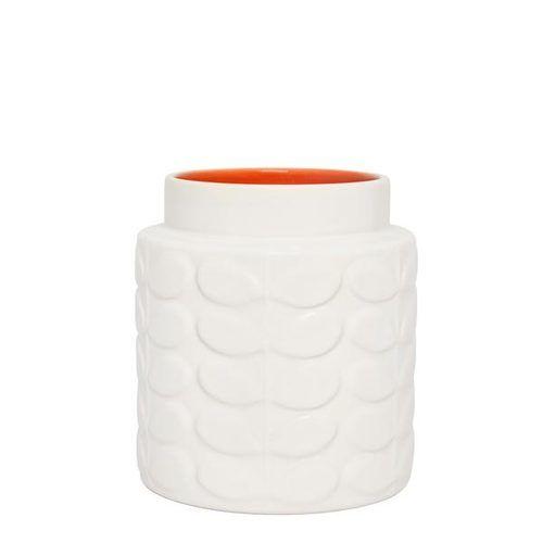 Orla Kiely, Wide Stem Gloss Vase, Creme/Orange