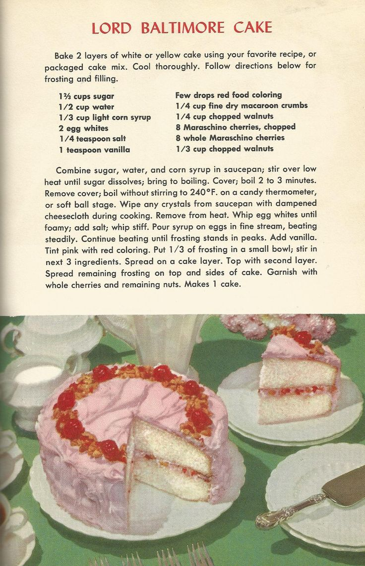 Vintage Recipes, 1950s Cakes, Lord Baltimore Cake