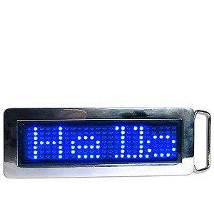 Programmable Scrolling Blue LED Chrome Belt Buckle BLU-LED-BELTBUCKLE