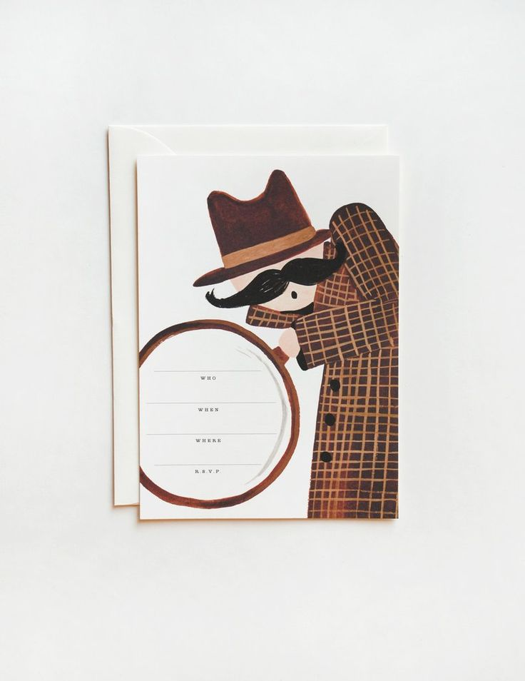 "These sleuth party invitations are perfect for a detective, spy, or scavenger hunt themed party. Created by Rifle Paper Co. Box of 10 cards and envelopes with write-in lines. - A7 size (5""x 7"") - Box"