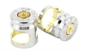 Silver Bullet cufflinks in brass and nickel silver - $280