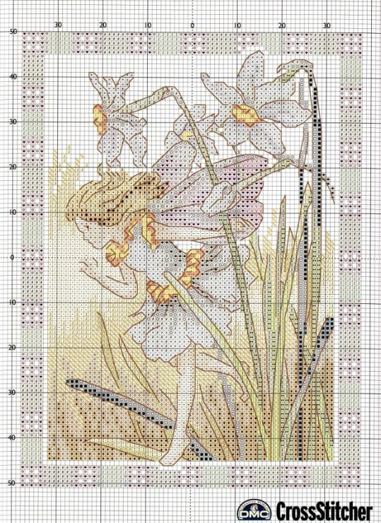 Cross stitch - fairies: Narcissus fairy - Cicely Mary Barker (chart)