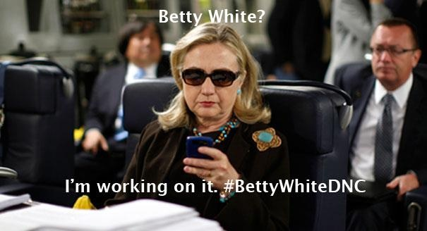 Hillary-Clinton-Blackberry-Betty-White-DNC-Democratic-National-Convention-Meme, Hillary Clinton Blackberry Betty White DNC Democratic National Convention Meme