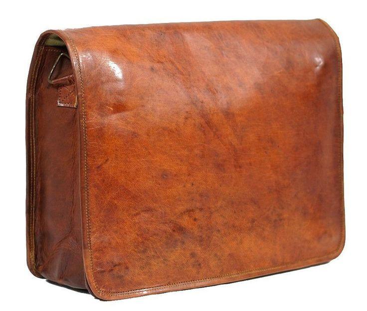 Vintage Handmade Leather Full Flap Sydney Laptop Bag - Vintage Leather
