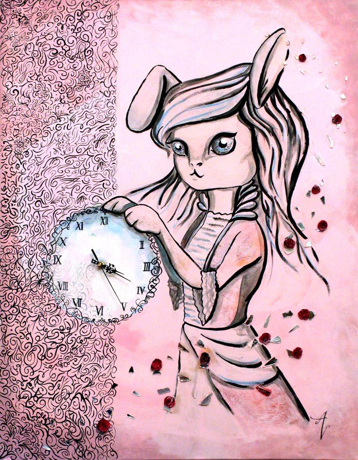 Moment of tenderness - rabbit - bunny- clock - art - pink