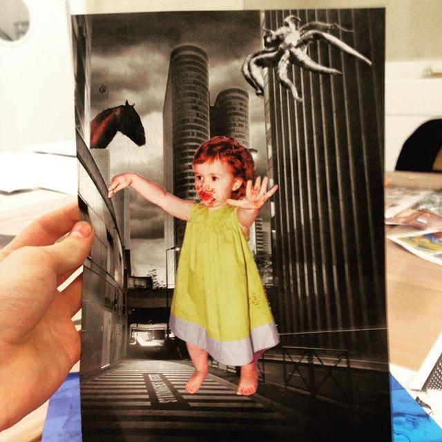 """En direct de l'Ecole d'Art (Cyel) 😄  Le thème c'était juste """"Photomontage""""."""