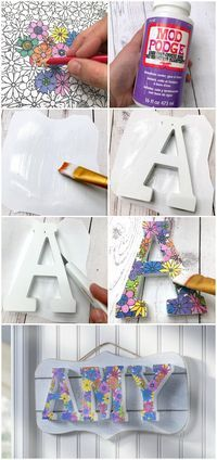 Use your adult coloring pages to make this personalized DIY name plaque! Relax and enjoy coloring then turn them into something pretty for your wall. via @modpodgerocks