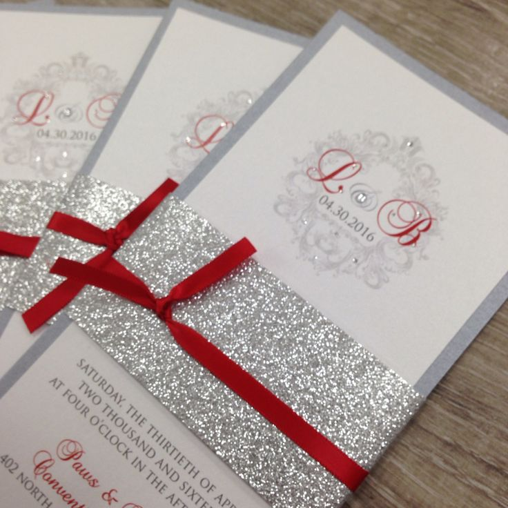 Red silver and white glitter wedding invitations. Invitations with silver glitter belly band. Www.Thepolkadotpapershop.Com