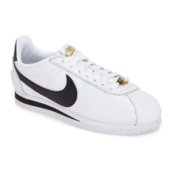 Women's Nike Classic Cortez Premium Xlv Sneaker ($90) ❤ liked on Polyvore featuring shoes, sneakers, laced up shoes, low top, laced shoes, lace up shoes and lace up sneakers
